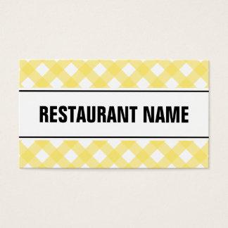 Gul pläd för restaurangvisitkortmall | visitkort