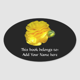 Gul Ranunculus Ovalt Klistermärke