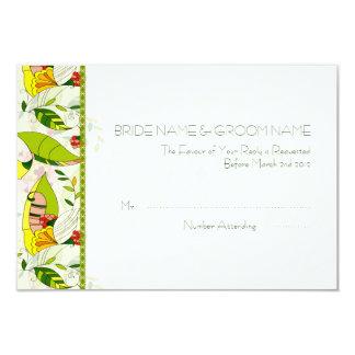 Gul Retro abstrakt blom- Collage-OSA 8,9 X 12,7 Cm Inbjudningskort