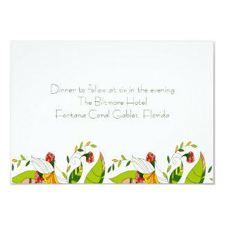 Gul Retro abstrakt blom- collage-ReceptionCard 8,9 X 12,7 Cm Inbjudningskort