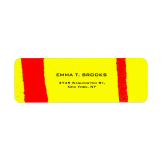Gul röd elegant modern vanlig Minimalist Returadress Etikett