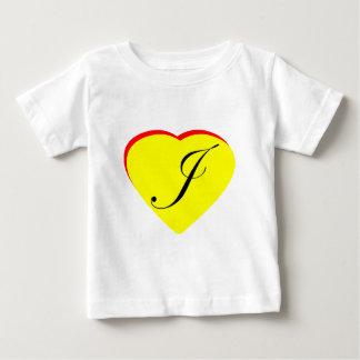 Gul röd J bröllopinbjudan för hjärta MUSEET Z T-shirts