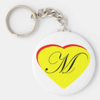 Gul röd M bröllopinbjudan för hjärta MUSEET Z Nyckel Ringar