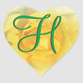 gul ros för Monogram 3d Hjärtformat Klistermärke