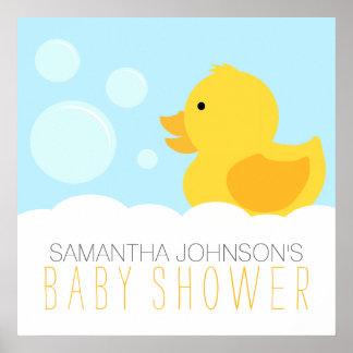 Gul Rubber Ducky bubbelbadbaby shower Poster