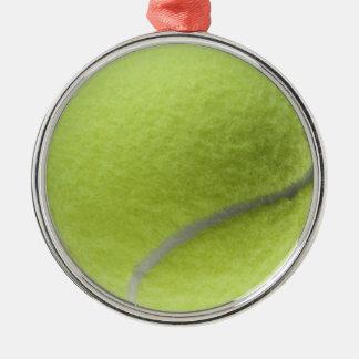 Gul skräddarsy mall för tennis boll rund silverfärgad julgransprydnad