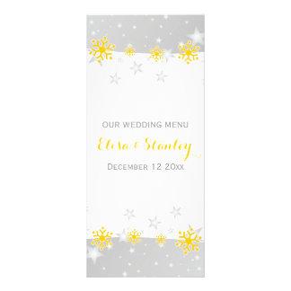 Gul snöflingor, grå färgstjärnor som gifta sig reklamkort