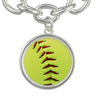 Gul softballboll armband