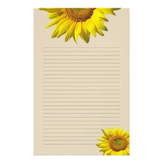 Gul solros fodrat personligt handstilpapper brevpapper