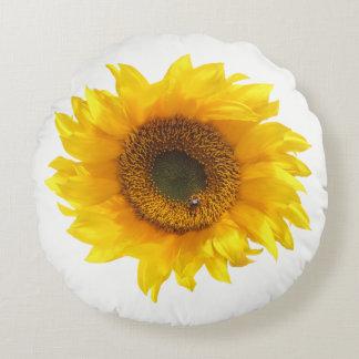 gul solros rund kudde