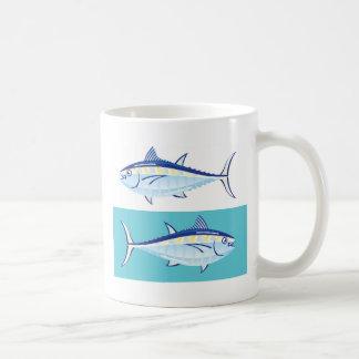 Gul stylized fenatonfiskvektor kaffemugg