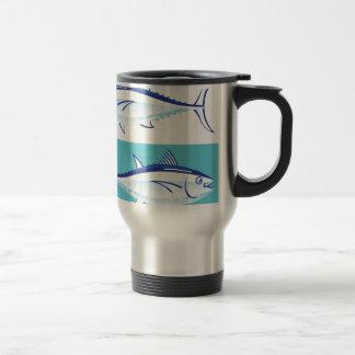 Gul stylized fenatonfiskvektor rostfritt stål resemugg