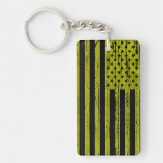 Gul & svart amerikanska flagganpopkonst Keychain