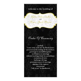gul svart bröllopsprogram rackkort