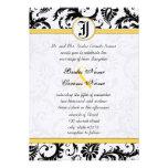 Gul & svart damast virvlar runt bröllopinbjudninga tillkännagivanden