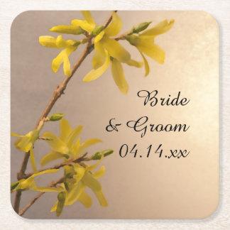 Gul vårForsythia blommar bröllop Underlägg Papper Kvadrat
