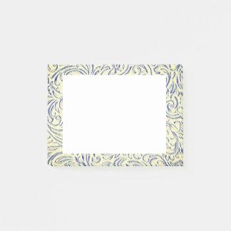 Gul vintage grafiska blom- Scrollwork för blått Post-it Block