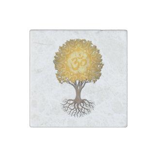 Gul YogaOm-livets träd Stenmagnet