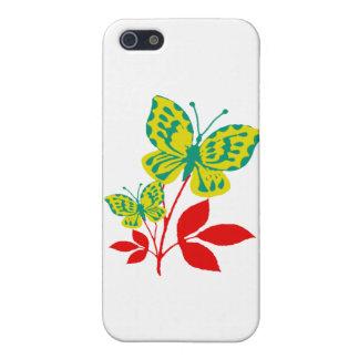 Gula & blåttfjärilar på nedgånglövverk iPhone 5 hud