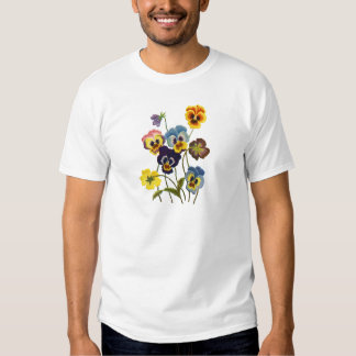 Gula broderade Pansies för blått och för lilor T Shirts