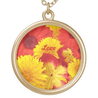 Gula Chrysanthemums för färgrika ljusa röda daisy Guldpläterat Halsband