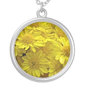 Gula Chrysanthemums för solsken Silverpläterat Halsband