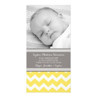 Gula gråa kort för tackbaby showerfoto fotokort
