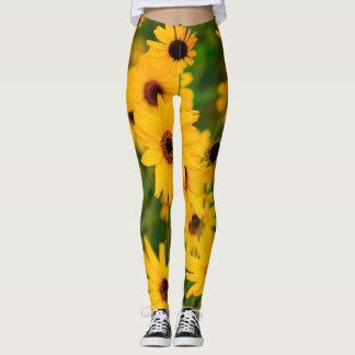 Gula gröntblommor leggings