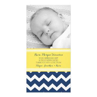 Gula kort för foto för blåtttackbaby shower fotokort