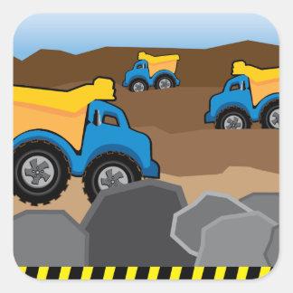 Gula lastbilfödelsedagklistermärkear fyrkantigt klistermärke