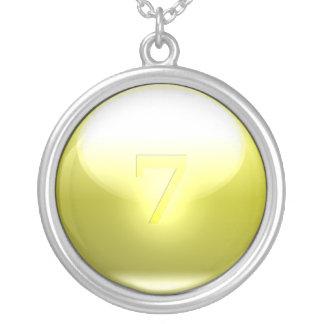 Gula lyckliga 7 silverpläterat halsband