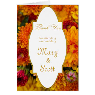 Gula orange chrysanthemums som gifta sig tack OBS kort