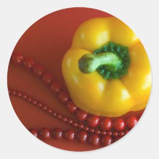 gula paprika&beads runt klistermärke