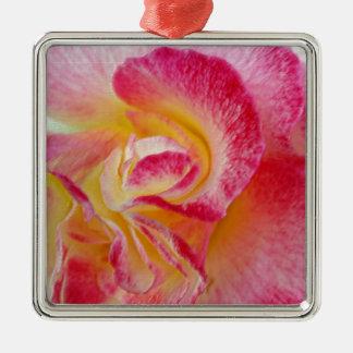 gula rosa petals julgransprydnad metall