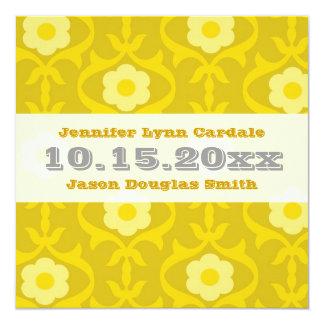 Gula senapsgultt blom- bröllopinbjudningar för fyrkantigt 13,3 cm inbjudningskort