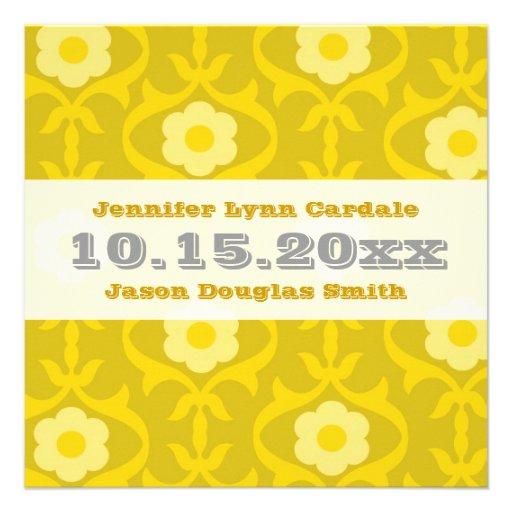 Gula senapsgultt blom- bröllopinbjudningar för vin kort för inbjudningar