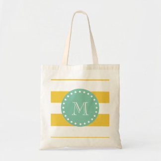 Gula vitrandar mönster, grön Monogram för Mint Budget Tygkasse
