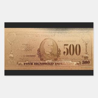 Guld 500 dollar räkning beklär rektangulärt klistermärke