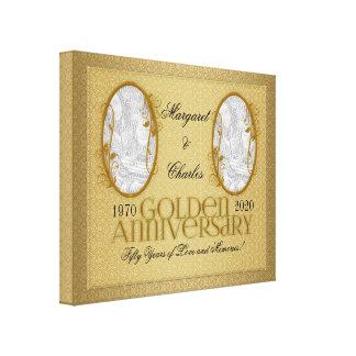 guld- 50th Annivsersary fotoCollage för 20x16 Canvastryck