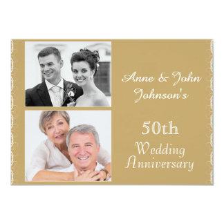 Guld- 50th bröllopsdaginbjudan 11,4 x 15,9 cm inbjudningskort