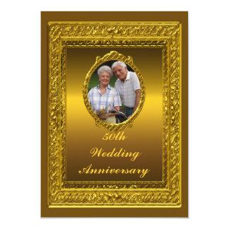 Guld- 50th bröllopsdagpartyinbjudan 12,7 x 17,8 cm inbjudningskort