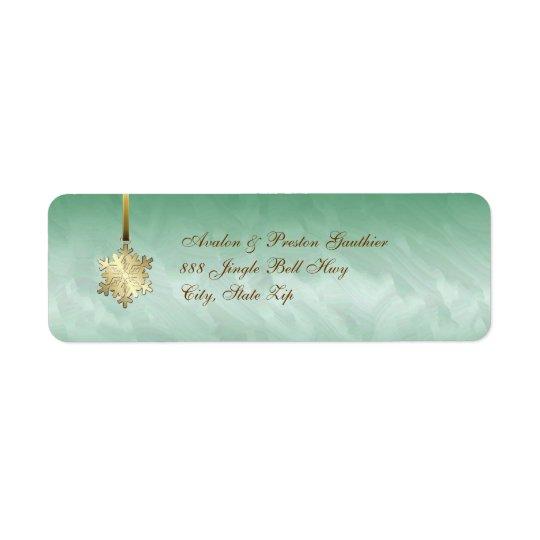 Guld- adressetiketter för Snowflakegrönthelgdag