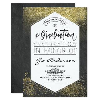 Guld- akademikra firandemeddelanden för modernt 12,7 x 17,8 cm inbjudningskort