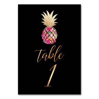 Guld- ananas för PixDezines Faux/bordkort Bordsnummer