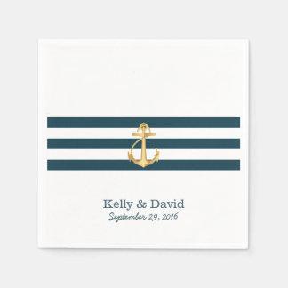 Guld ankrar nautiskt bröllop för marinblåa randar pappersservett