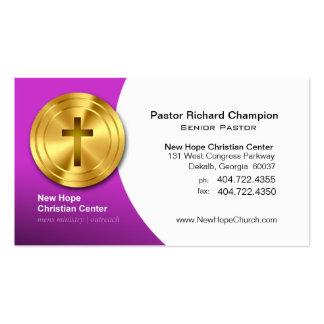 Guld- arg kristen symbolminister/pastor set av standard visitkort