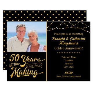 Guld- årsdag, 50 år i danandet 12,7 x 17,8 cm inbjudningskort