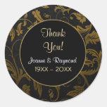Guld- årsdag för damast 50h - tack runda klistermärken