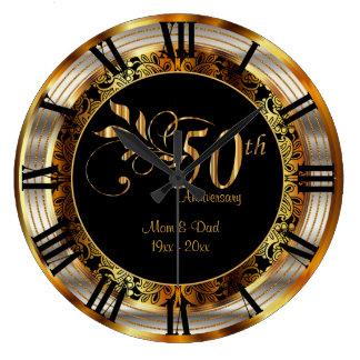 Guld- årsdag för elegant 50th stor klocka