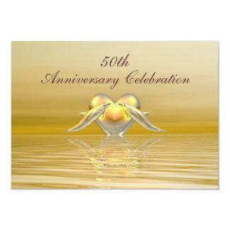 Guld- årsdagdelfiner och hjärta 12,7 x 17,8 cm inbjudningskort